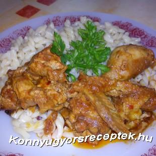 Fácánpörkölt főtt tésztával recept