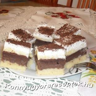 Habos vaníliás-csokis kocka  recept