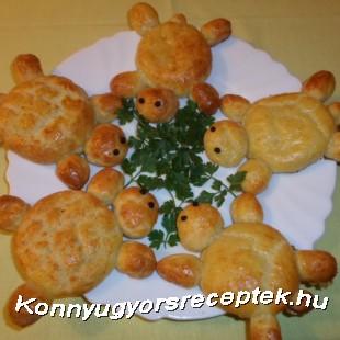 Túrós-sajtos teknőcök recept
