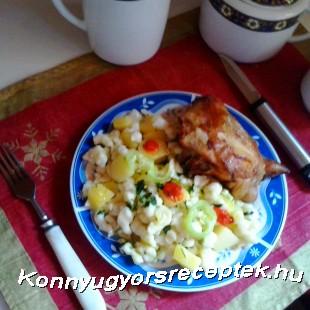 Zöltséges burgonya nokedlivel, sült csirkével recept