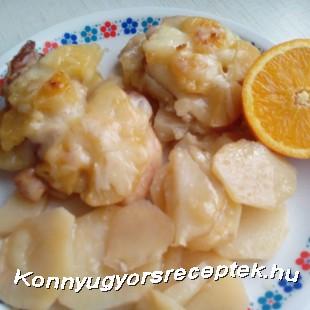 Krumplin sült ananásszal rakott csirkehús recept