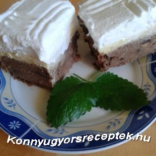 Sütés nélküli diós-pudingos kocka recept