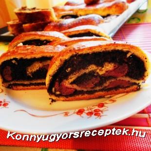 Mákos-meggyes bejgli recept