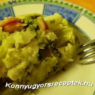 Diétás virslis-sajtos rakott brokkoli/karfiol recept