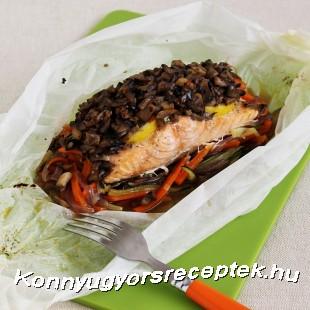 Gombás-citromos lazac párolt zöldséggel recept