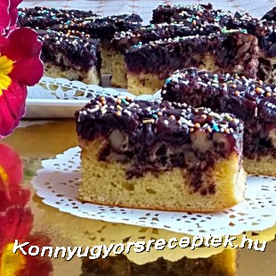 Fűszeres meggyes,diós kevert sütemény recept
