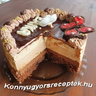 Kávé-csoki mousse torta recept