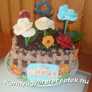 Virágoskert ( csokoládé torta) recept