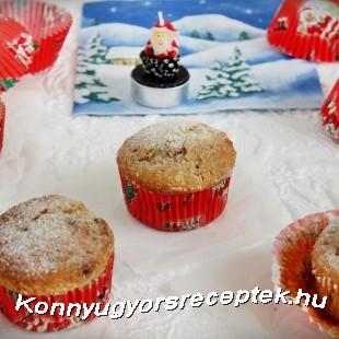 Diós-aszalt gyümölcsös muffin recept