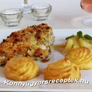 Töltött csirkemell hercegnő burgonyával, almamártással recept