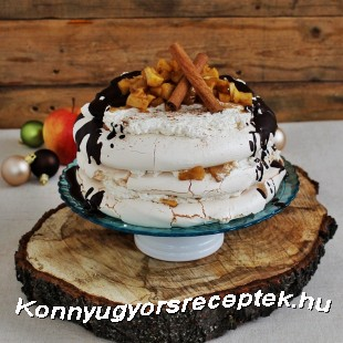Pavlova fűszeres karamellizált almával recept
