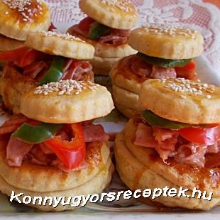 Sonkás-sajtos vendégváró kosárkák recept