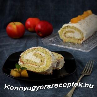 Mákos piskótatekercs almás-mascarponekrémmel recept
