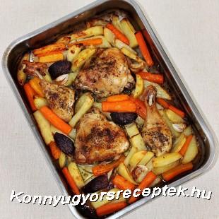 Tepsis csirkecomb vele sült zöldségkörettel. recept