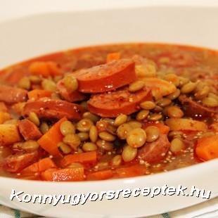 Mustáros-kolbászos lencseleves recept