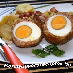 Kemény tojás darált húsban sütve recept