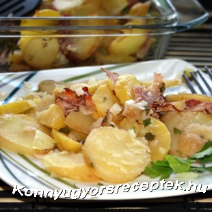 Sült burgonya sonkával recept