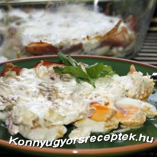 Kemény tojás sonkával sütve recept