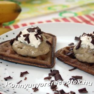 Csokis gofri banánpudinggal recept