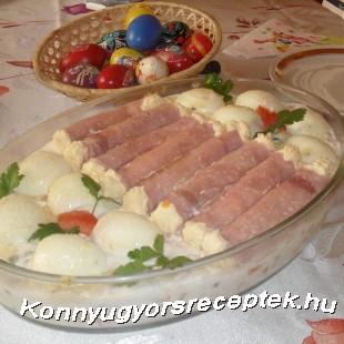 Töltött tojás, sonkatekercs, francia saláta alapon  recept