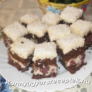 Meggyes kókuskrémes kocka  recept