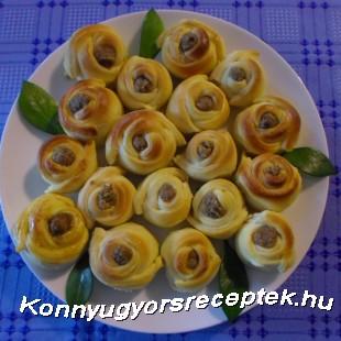 Töltött diós rózsák recept