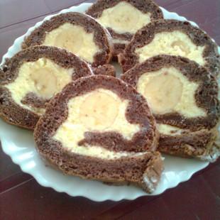 Banános piskótatekercs recept