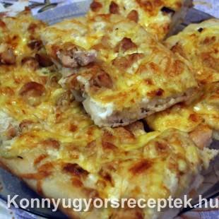 Pizza - csirkehúsos tejfölös  recept