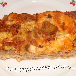Gombás húsos rakott tészta recept