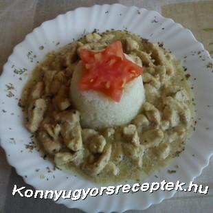 Oregánós csirkeragu párolt rizzsel recept