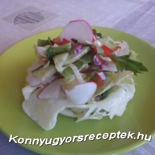 Medvehagymás saláta sajtkosárban recept