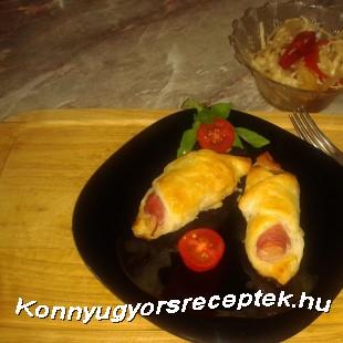 Virsli leveles tésztában sütve   recept