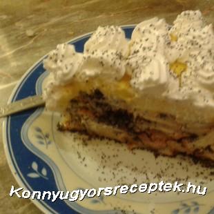 MÁKOSGUBA TORTA VANÍLIA KRÉMMEL recept