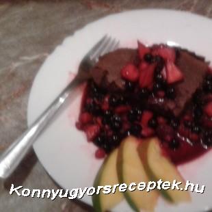 Lisztmentes Francia csokoládétorta mangós erdeigyümölcs kompóttal recept