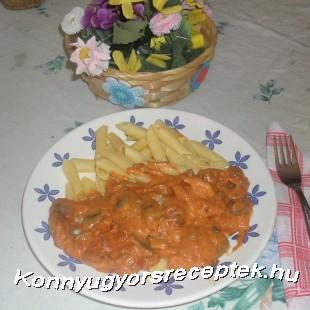 Bakonyi csirkemell, gluténmentes tésztával recept
