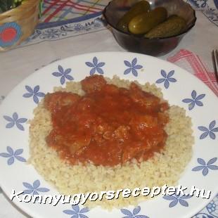 Zúza pörkölt bulgurral recept