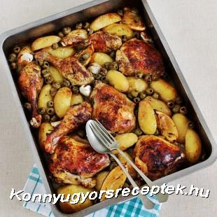 Tepsis csirkecomb vele sült körettel recept