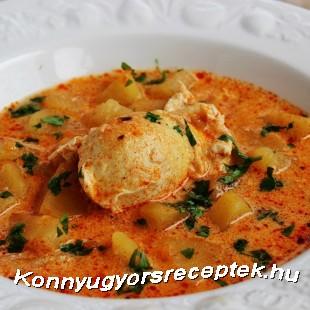 Tárkonyos krumplileves tojással recept