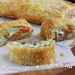 Zöldséges-tonhalas rétes recept