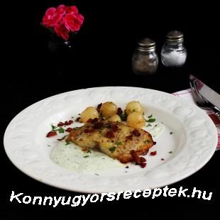 Harcsaszelet sült karalábéval és karalábékrémmel recept