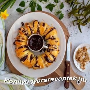 Banános, nutellás leveles tészta koszorú recept