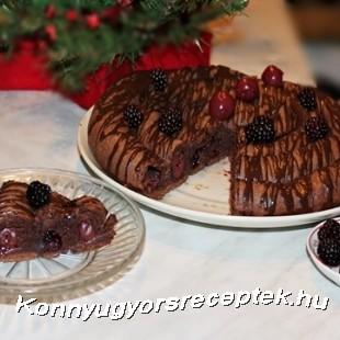 Meggyes-szedres csiga csokoládéval öntözve recept