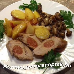 Debrecenivel töltött szűzpecsenye  tepsis burgonyával  pirított gombával  recept