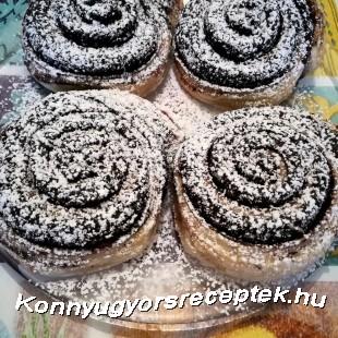 Kakaós csiga leveles tésztából recept