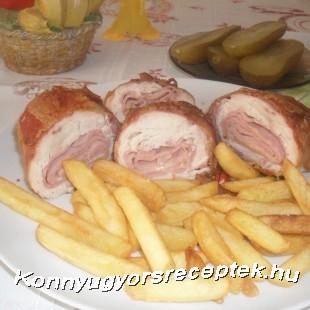 Göngyölt csirkemell ( sajttal-sonkával) recept