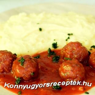 Paradicsomos húsgombóc burgonyapürével recept