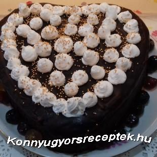 Csokis diós szívtorta recept