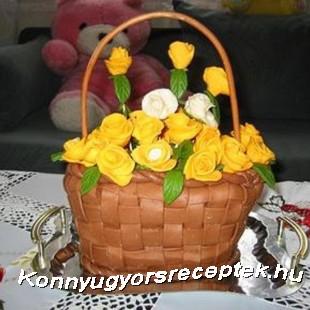 Virágkosár torta recept