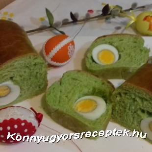 Sós spenótos tojással töltött kalács  recept