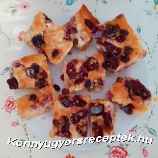 meggyes-diós kelt pite recept